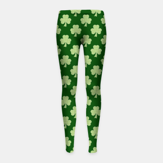 Thumbnail image of Shamrock Clover Polka dots St. Patrick's Day green pattern Girl's Leggings, Live Heroes