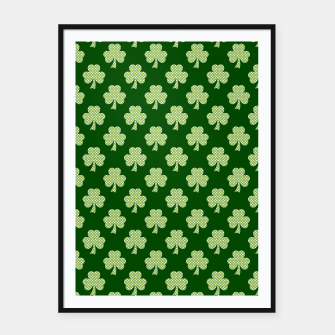 Thumbnail image of Shamrock Clover Polka dots St. Patrick's Day green pattern Framed poster, Live Heroes