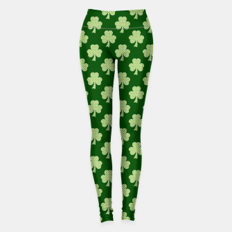 Thumbnail image of Shamrock Clover Polka dots St. Patrick's Day green pattern Leggings, Live Heroes