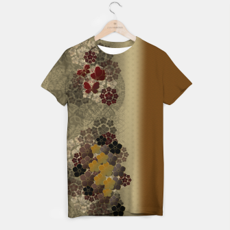 Thumbnail image of Japanese traditional emblem art flower and butterfly vintage gold T-shirt, Live Heroes