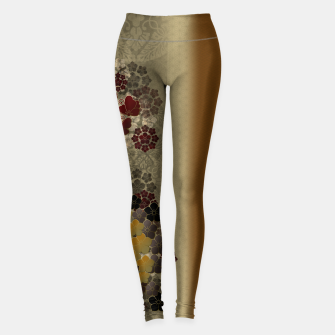 Thumbnail image of Japanese traditional emblem art flower and butterfly vintage gold Leggings, Live Heroes