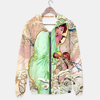 Thumbnail image of Alphonse Mucha Winter Cotton zip up hoodie, Live Heroes