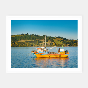 Miniaturka Fishing Boat at Lake, Chiloe, Chile Framed poster, Live Heroes
