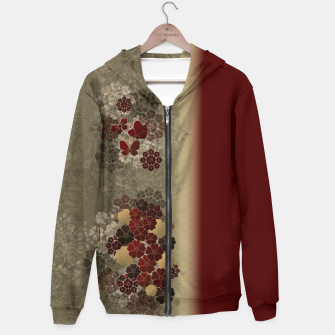 Thumbnail image of Japanese traditional emblem art flower and butterfly red Hoodie, Live Heroes