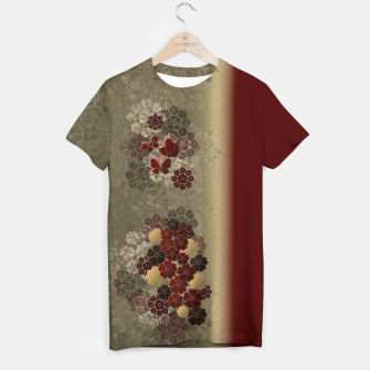 Thumbnail image of Japanese traditional emblem art flower and butterfly red T-shirt, Live Heroes