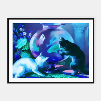 Vintage Kittens playing with fishes in a glass bowl Framed poster obraz miniatury