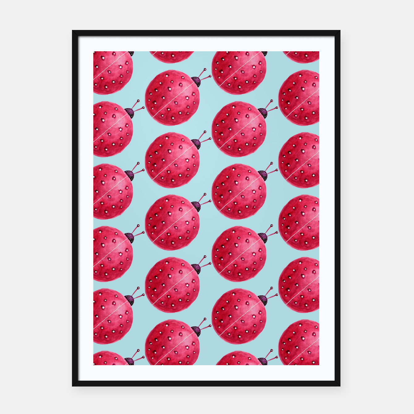 Image of Watercolor Pink Ladybug Pattern Framed poster - Live Heroes