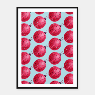 Watercolor Pink Ladybug Pattern Framed poster thumbnail image
