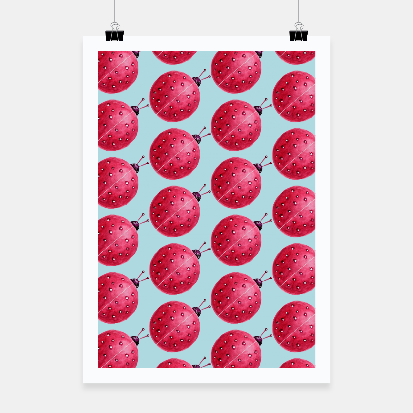 Image of Watercolor Pink Ladybug Pattern Poster - Live Heroes