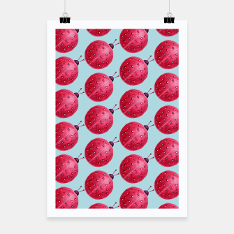 Thumbnail image of Watercolor Pink Ladybug Pattern Poster, Live Heroes