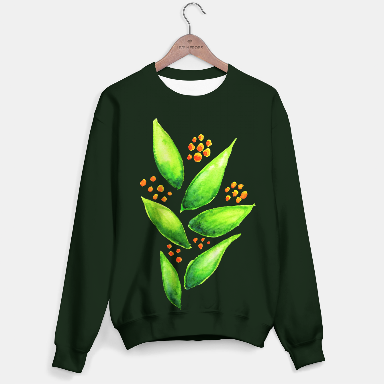 Image of Abstract Watercolor Green Plant Orange Berries Sweater - Live Heroes