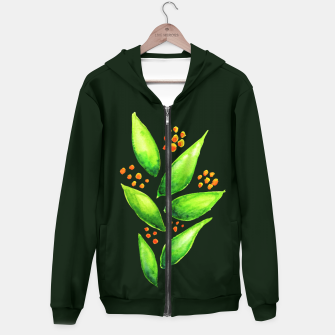 Abstract Watercolor Green Plant Orange Berries Hoodie thumbnail image