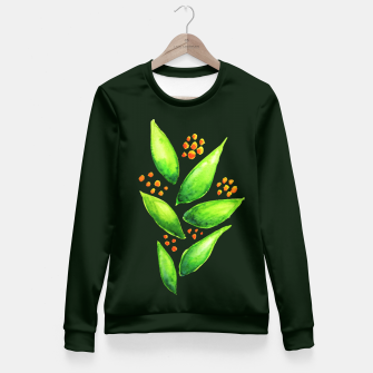Thumbnail image of Abstract Watercolor Green Plant Orange Berries Fitted Waist Sweater, Live Heroes