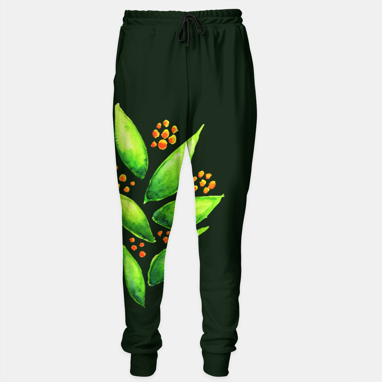 Image of Abstract Watercolor Green Plant Orange Berries Sweatpants - Live Heroes