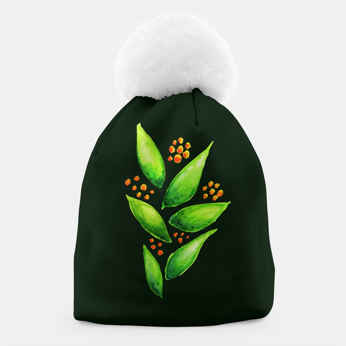 Image of Abstract Watercolor Green Plant Orange Berries Beanie - Live Heroes