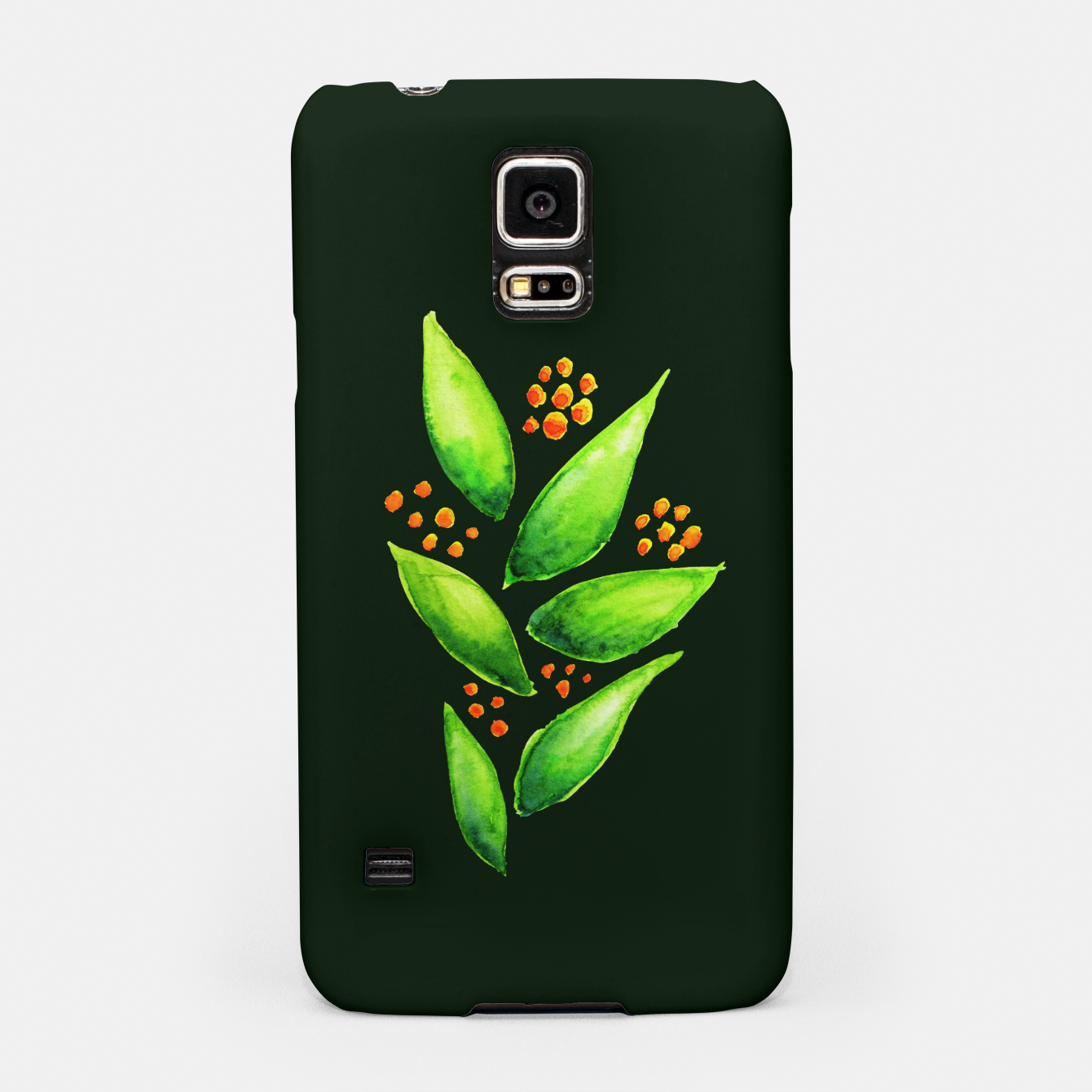 Image of Abstract Watercolor Green Plant Orange Berries Samsung Case - Live Heroes