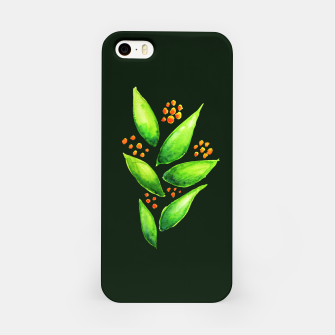 Abstract Watercolor Green Plant Orange Berries iPhone Case thumbnail image