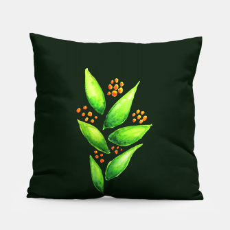 Abstract Watercolor Green Plant Orange Berries Pillow thumbnail image