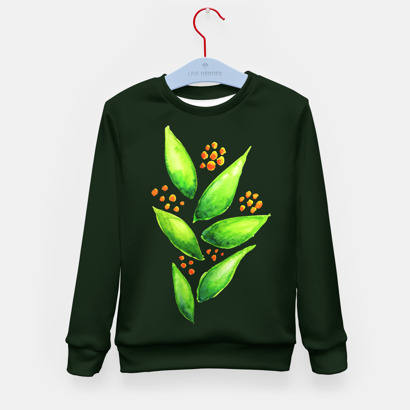 Image of Abstract Watercolor Green Plant Orange Berries Kid's Sweater - Live Heroes
