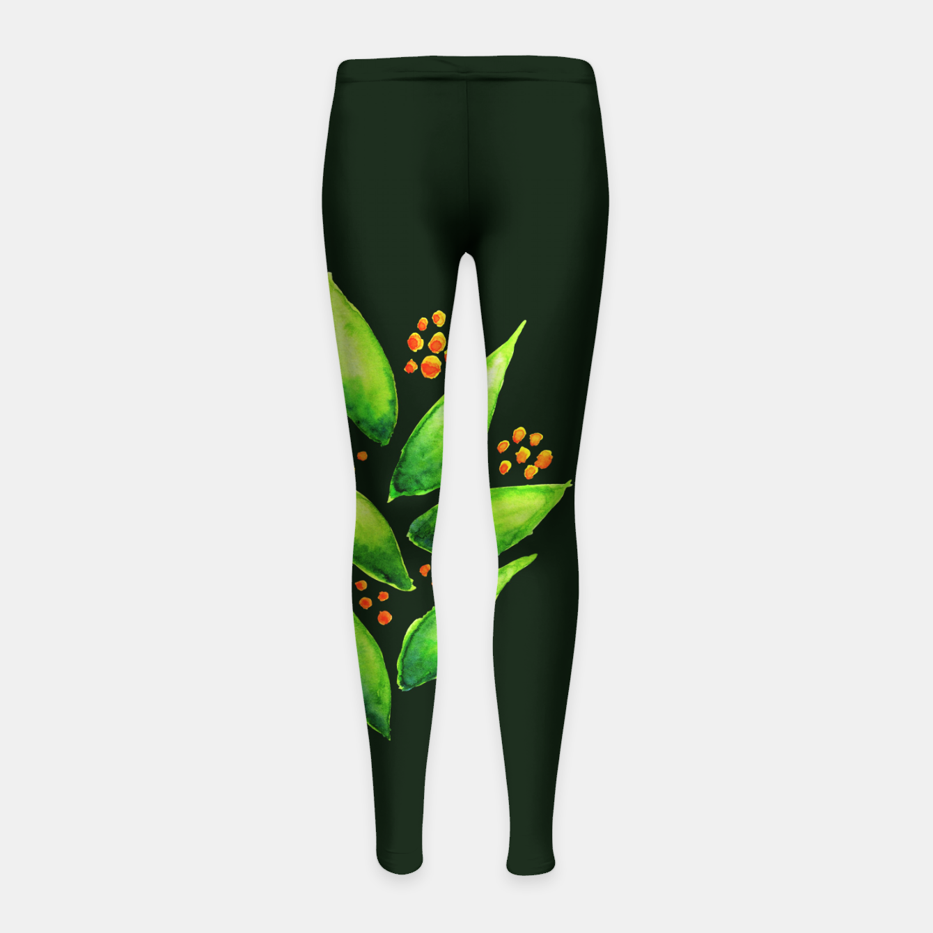 Image of Abstract Watercolor Green Plant Orange Berries Girl's Leggings - Live Heroes
