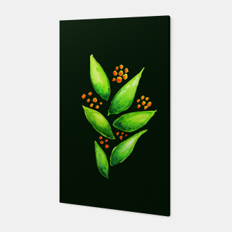 Abstract Watercolor Green Plant Orange Berries Canvas thumbnail image