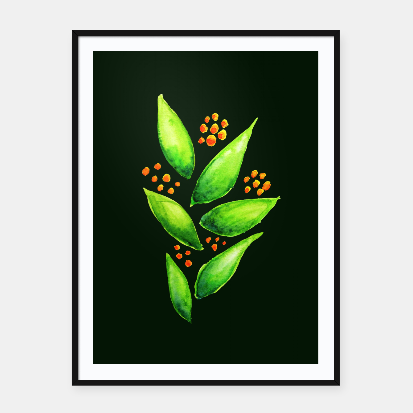 Image of Abstract Watercolor Green Plant Orange Berries Framed poster - Live Heroes