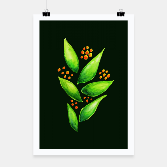 Thumbnail image of Abstract Watercolor Green Plant Orange Berries Poster, Live Heroes