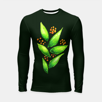 Thumbnail image of Abstract Watercolor Green Plant Orange Berries Longsleeve Rashguard , Live Heroes
