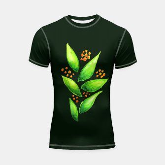 Thumbnail image of Abstract Watercolor Green Plant Orange Berries Shortsleeve Rashguard, Live Heroes