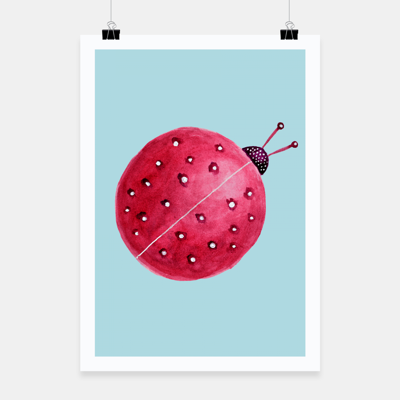Image of Cute Abstract Watercolor Ladybug Poster - Live Heroes