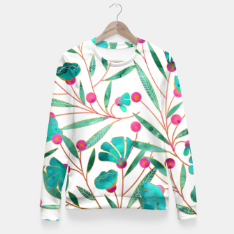 Thumbnail image of Turquoise Floral Fitted Waist Sweater, Live Heroes