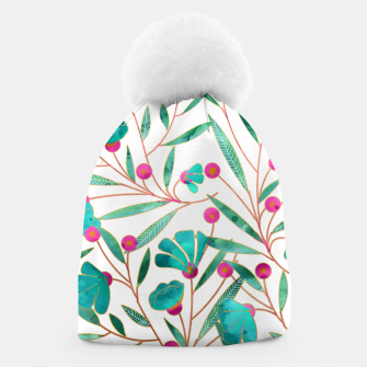 Thumbnail image of Turquoise Floral Beanie, Live Heroes
