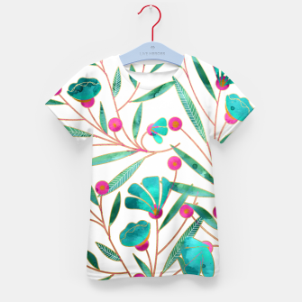 Thumbnail image of Turquoise Floral Kid's T-shirt, Live Heroes