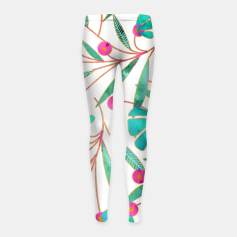 Thumbnail image of Turquoise Floral Girl's Leggings, Live Heroes