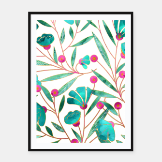 Thumbnail image of Turquoise Floral Framed poster, Live Heroes