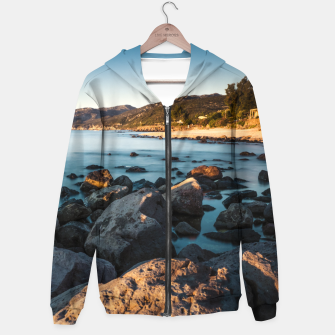 Thumbnail image of Photograph of a rocky coastline and beach Hoodie, Live Heroes