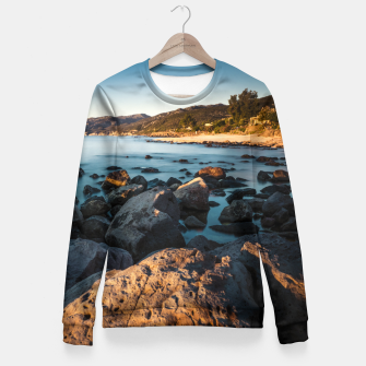 Thumbnail image of Photograph of a rocky coastline and beach Fitted Waist Sweater, Live Heroes
