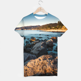 Thumbnail image of Photograph of a rocky coastline and beach T-shirt, Live Heroes