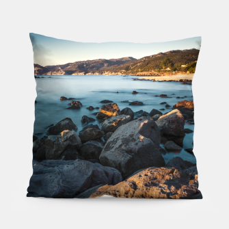 Thumbnail image of Photograph of a rocky coastline and beach Pillow, Live Heroes