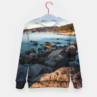 Thumbnail image of Photograph of a rocky coastline and beach Kid's Sweater, Live Heroes
