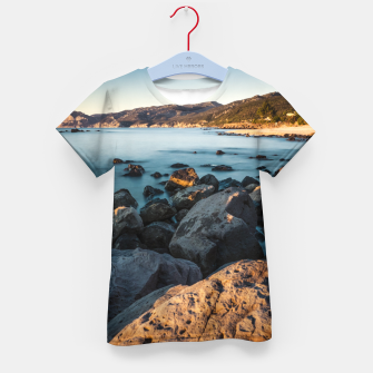 Thumbnail image of Photograph of a rocky coastline and beach Kid's T-shirt, Live Heroes
