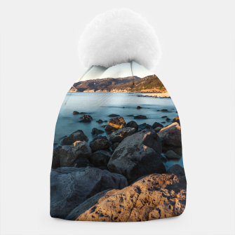 Thumbnail image of Photograph of a rocky coastline and beach Beanie, Live Heroes