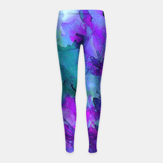Purple Flower Girl's Leggings imagen en miniatura