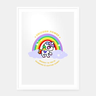 Miniaturka Unicorn Power - by Rainbows and Cotton Candy - Framed poster, Live Heroes