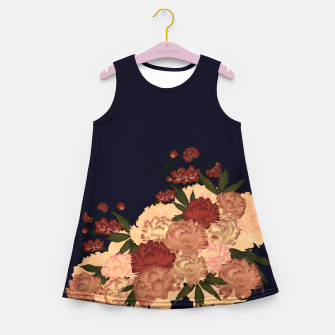 Miniatur Japanese style peony decoration blue Girl's Summer Dress, Live Heroes