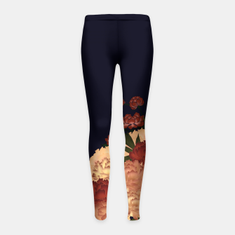 Miniatur Japanese style peony decoration blue Girl's Leggings, Live Heroes