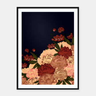 Miniatur Japanese style peony decoration blue Framed poster, Live Heroes