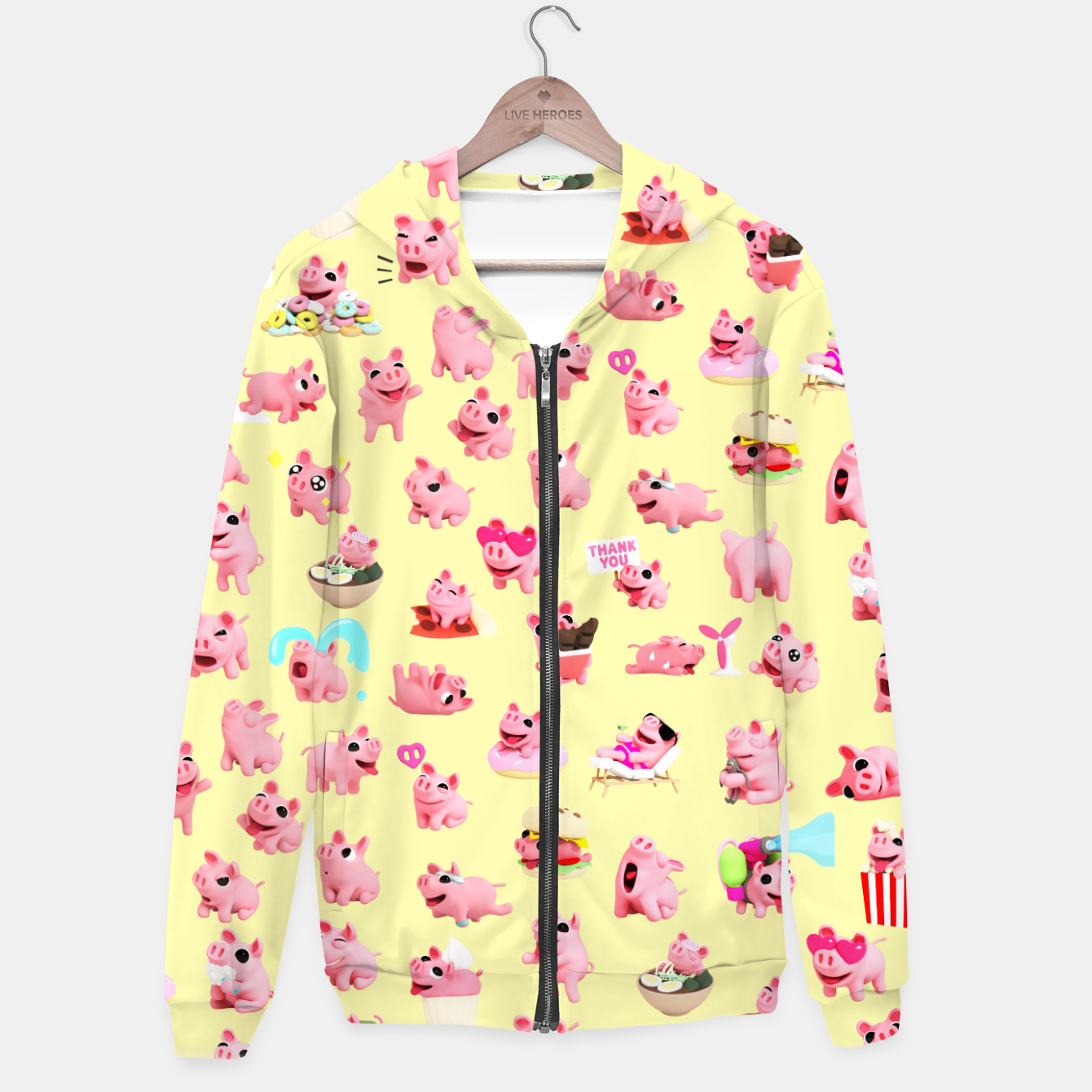 Image of Rosa the Pig Pattern 2 Yellow Hoodie - Live Heroes