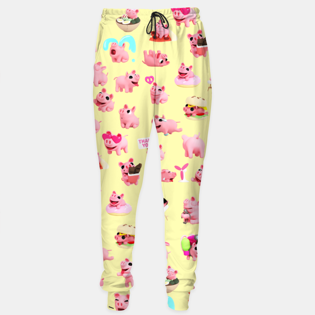 Image of Rosa the Pig Pattern 2 Yellow Sweatpants - Live Heroes