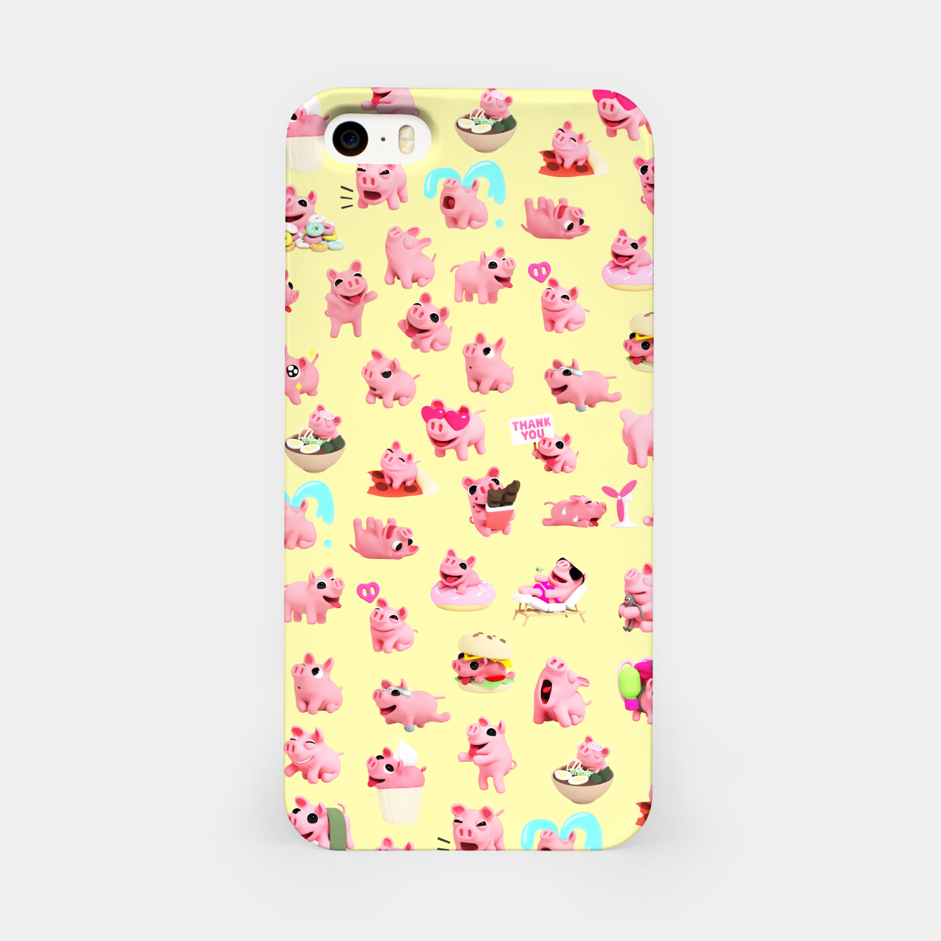 Image of Rosa the Pig Pattern 2 Yellow iPhone Case - Live Heroes